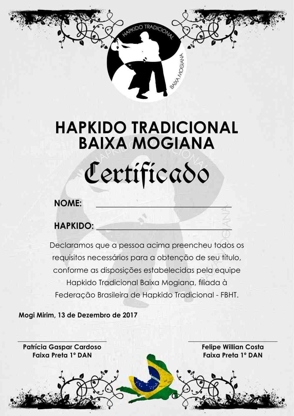 Criação de arte para certificado para cliente em Mogi Mirim, Hapkido Baixa Mogiana