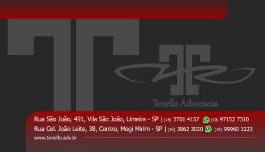 Criação de arte para cartão de visita do escritório de advocacia Tonello, localizado em Limeira/SP e Mogi Mirim/SP